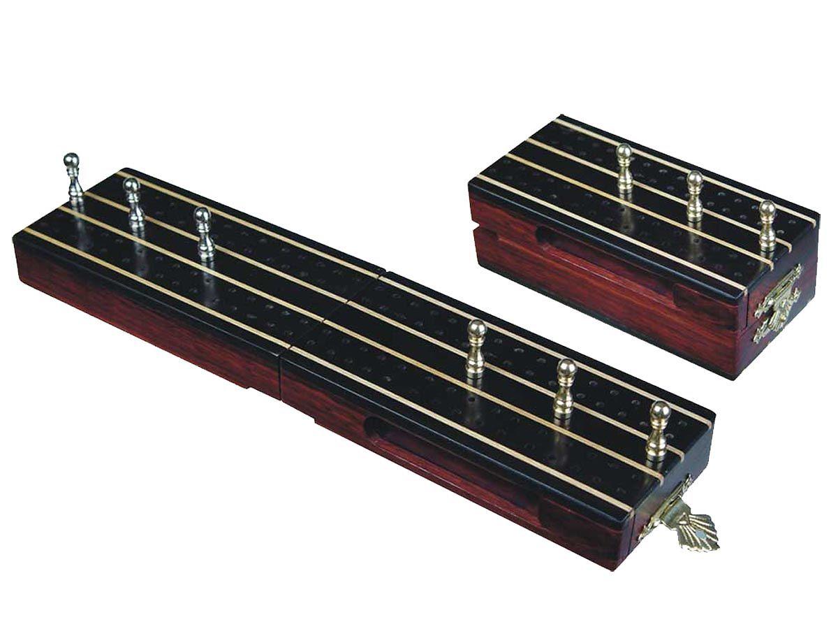 """Supreme Travel Folding Cribbage Board in Ebony / Maple 10"""" - 2 Tracks"""