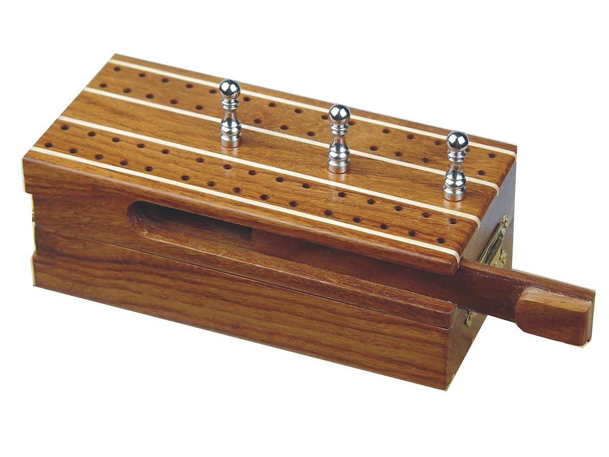 Cribbage Board with Sliding Lid