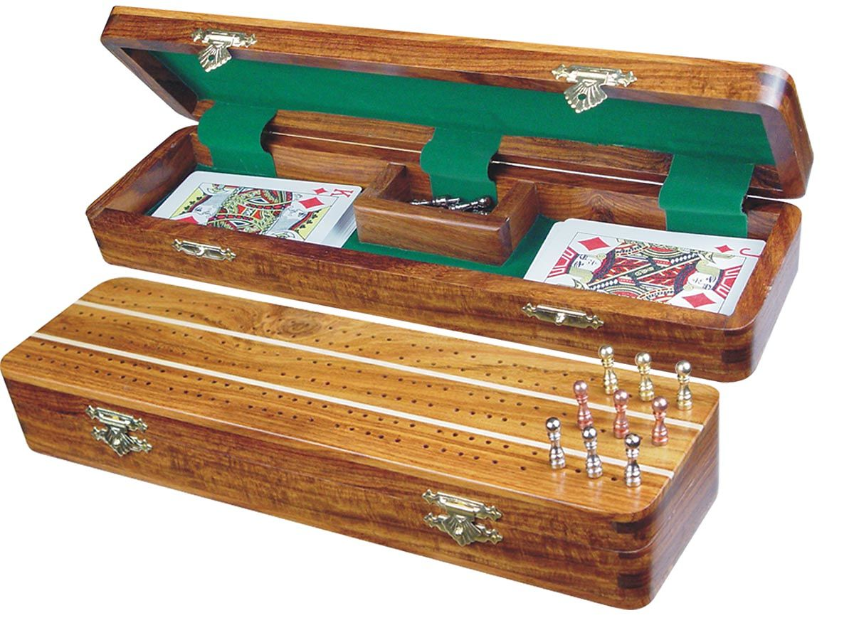 """Sovereign Cribbage Board & Box in Golden Rosewood / Maple 12"""" - 3 Tracks"""