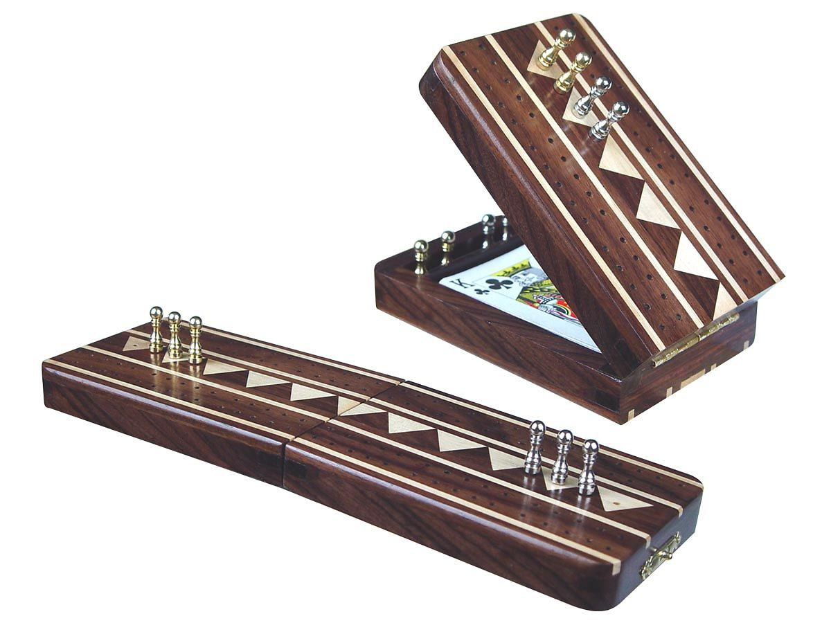 Artistic Rose Wood Cribbage Board with white Maple inlaid tracks