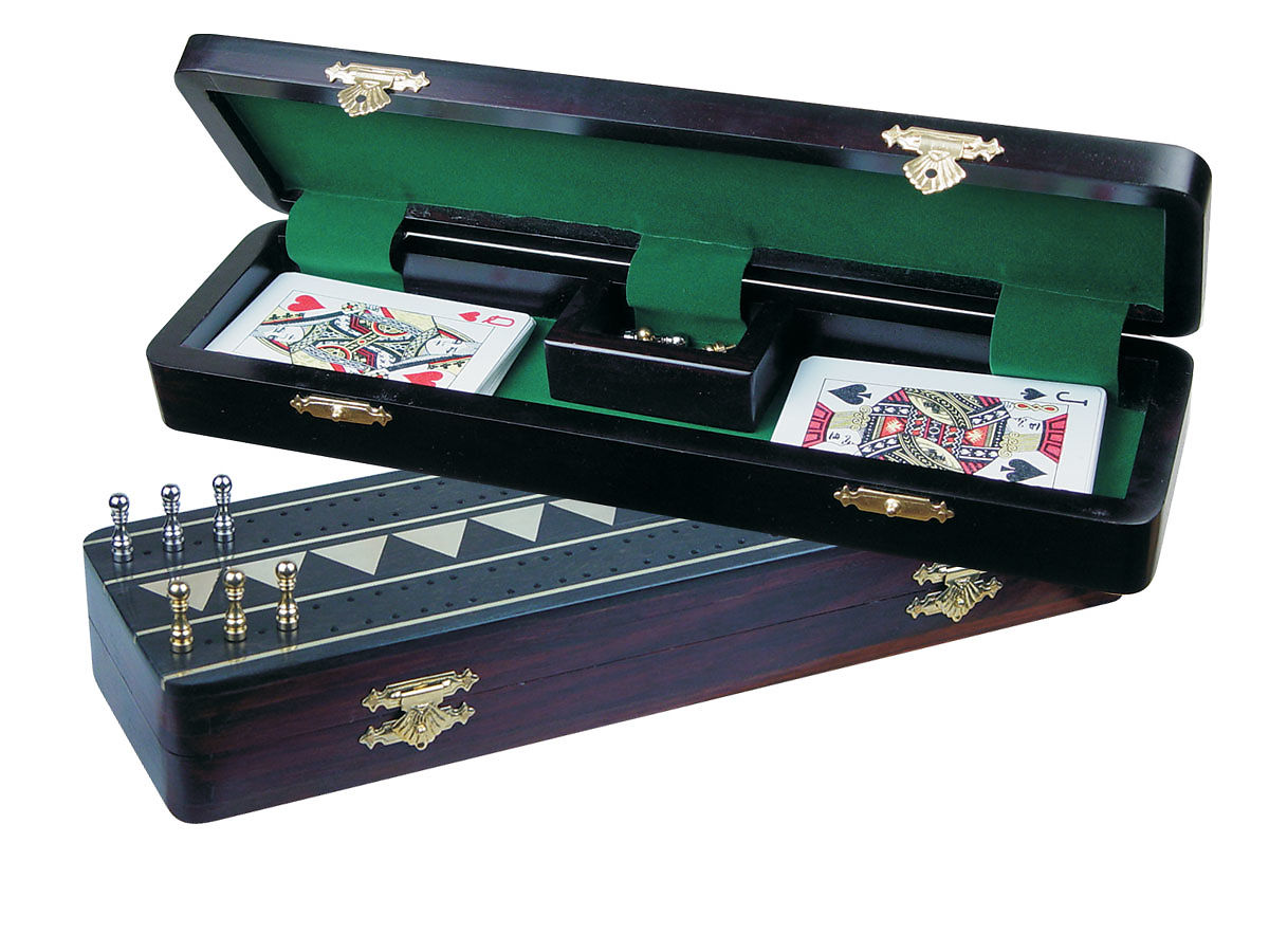 Monarch Cribbage Board /Box in Ebony / Brass 12 in - 2 Tracks