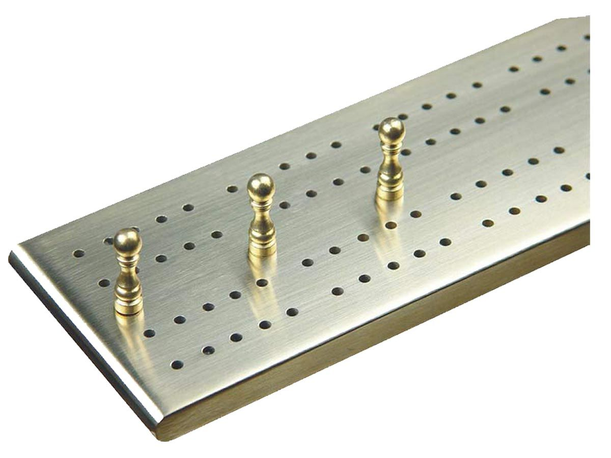 Brass Cribbage Board with Metal Pegs