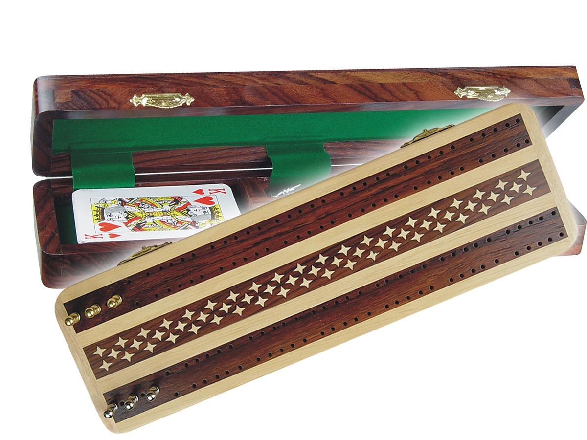 Wooden Cribbage Board Unique Artistic Inlaid