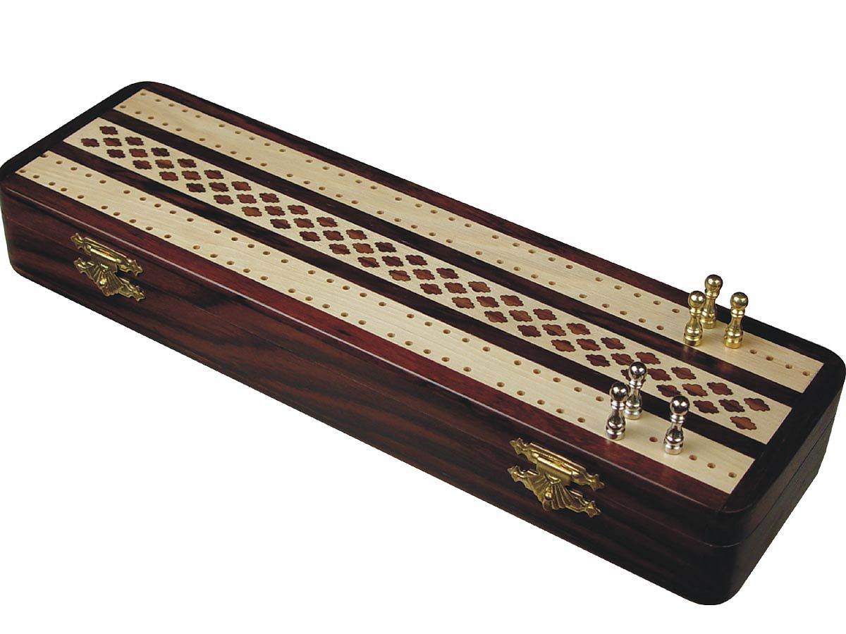 Wood Inlaid Artistic Cribbage Board