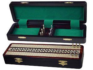 "Splendid Cribbage Board & Box in Rosewood / Maple 12"" - 2 Tracks"