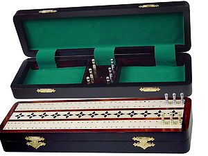"Emperor Cribbage Board & Box in Rosewood / Maple 12"" - 2 Tracks"