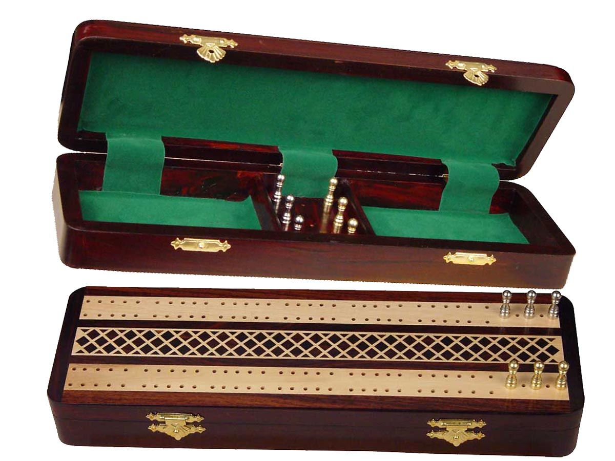 """Royal Cribbage Board & Box in Rosewood / Maple 12"""" - 2 Tracks"""