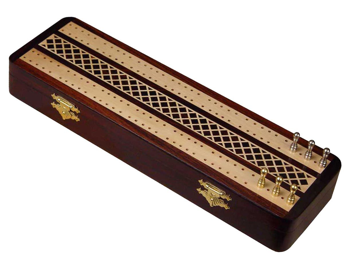 Artistic inlay work on cribbage board