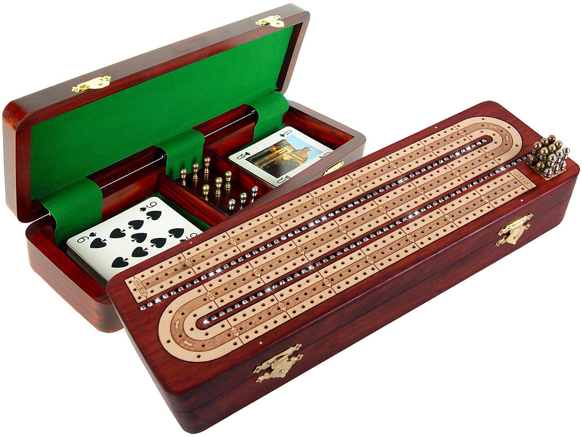 Diamond alike Crystal Studded Continuous Cribbage Board Inlaid with Bloodwood / Maple - 3 Tracks