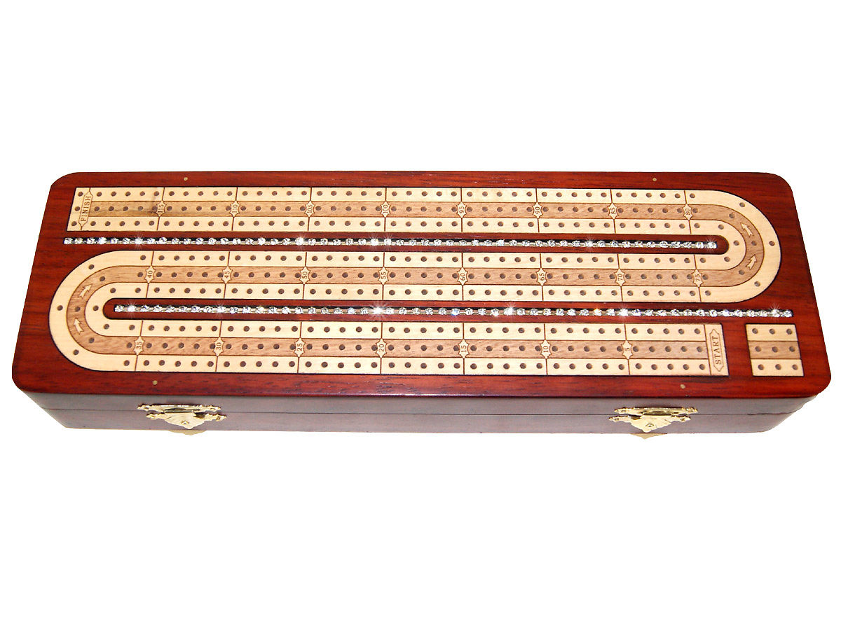 Top and Front view of diamond alike crystal studded cribbage board