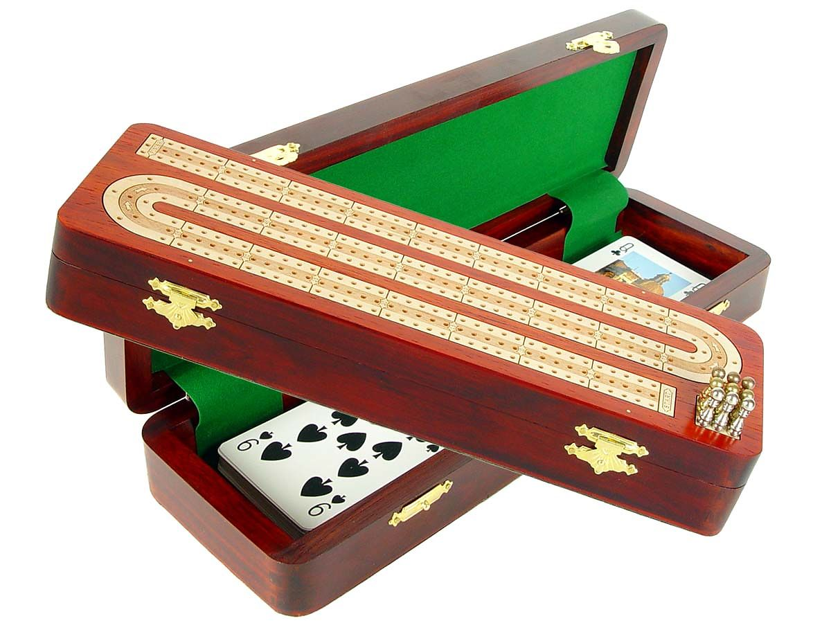 Continuous Cribbage Board / Box Inlaid in Bloodwood / White Maple - 3 Tracks