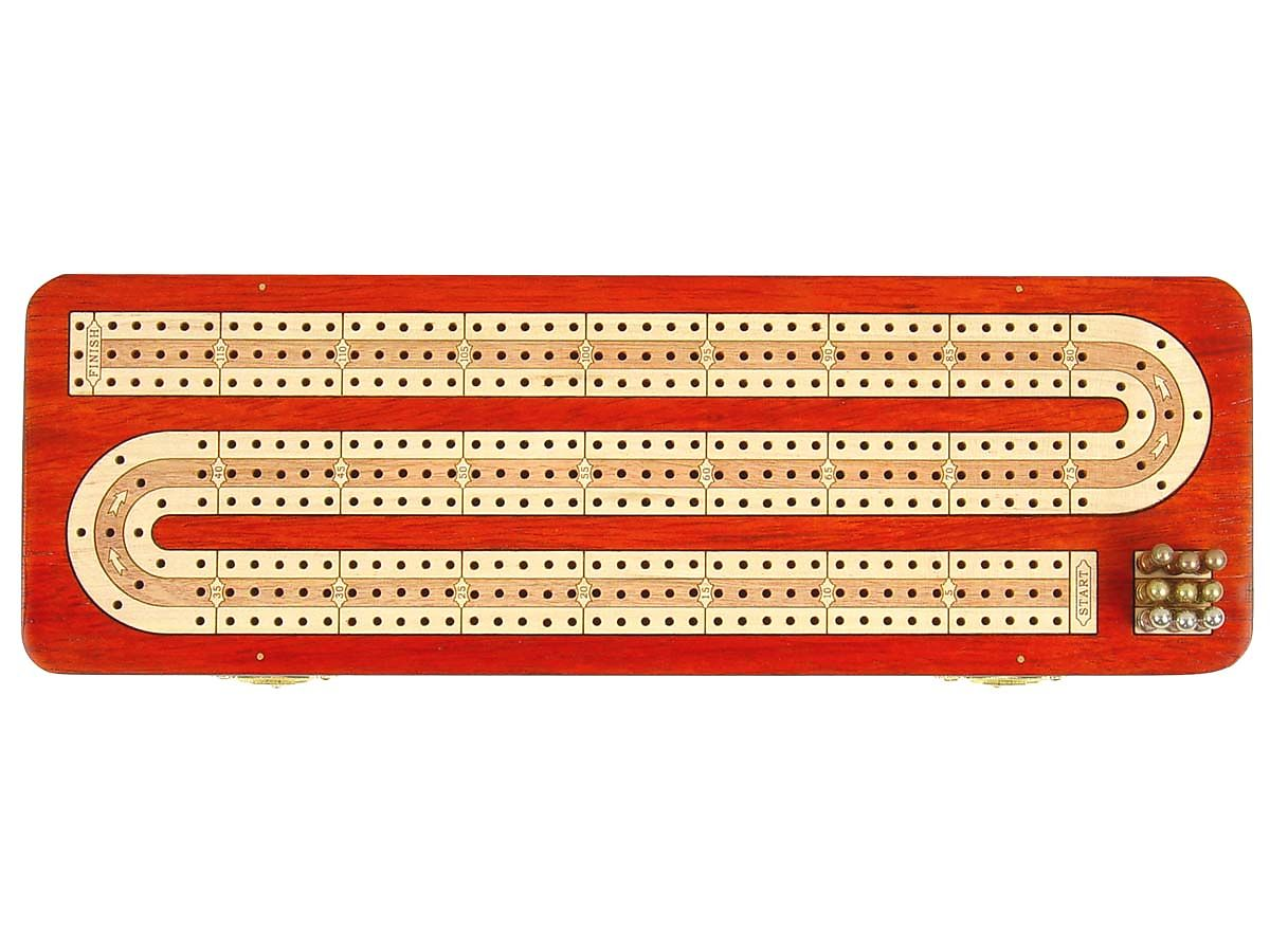 3 Tracks Continuous Cribbage Board inlaid with Bloodwood / Maple