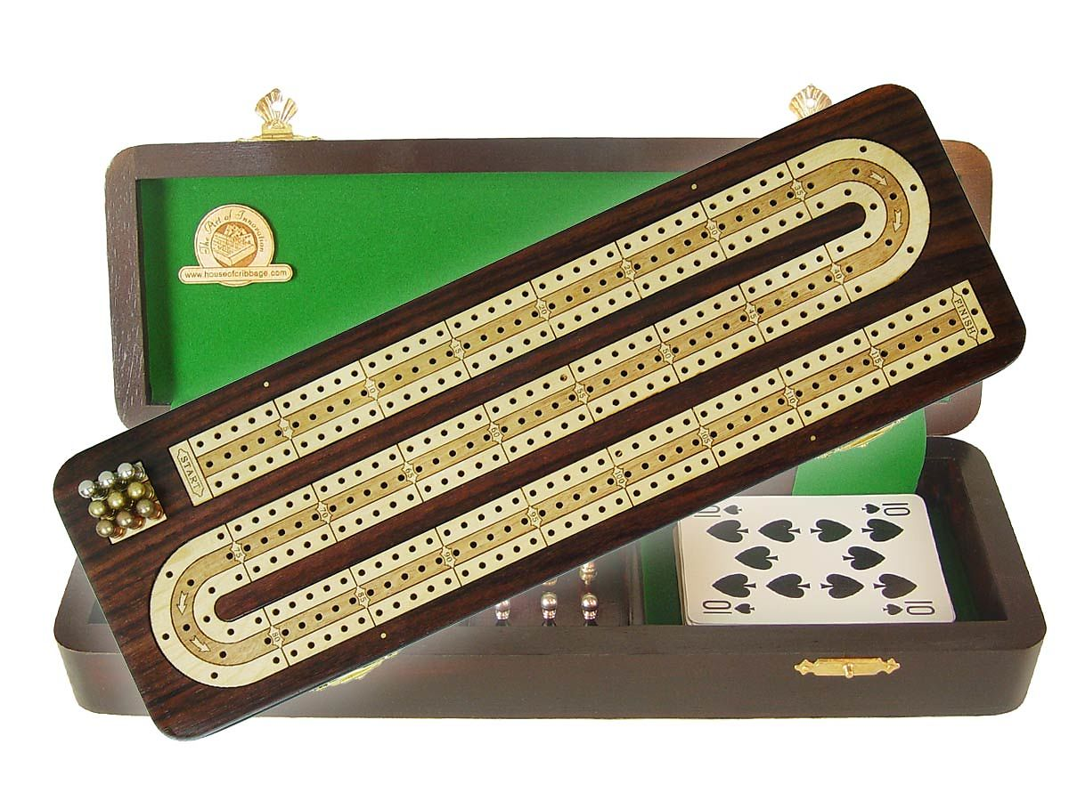 Continuous Cribbage Board / Box Inlaid in Rosewood / White Maple - 3 Tracks