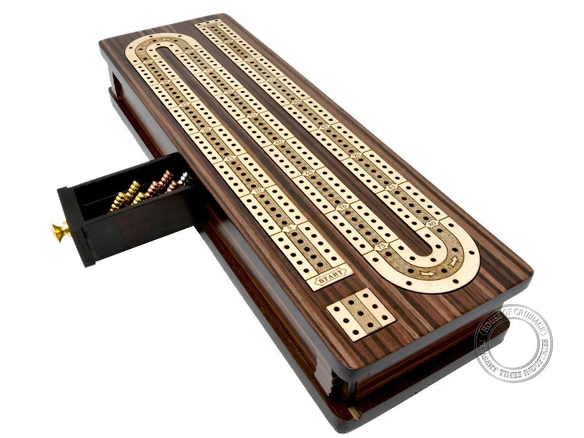 Continuous Cribbage Board Inlaid 3 Tracks with Sliding Lid and Drawer Rosewood/Maple