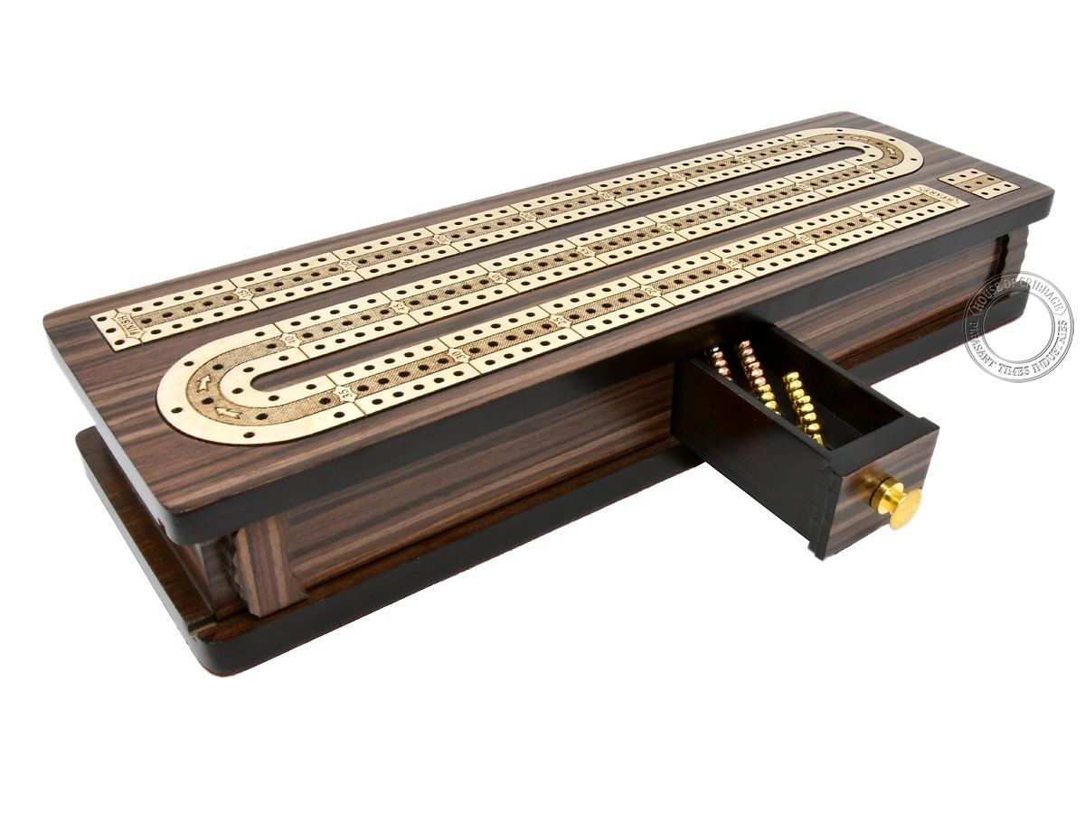 Continuous cribbage board - closed drawer and sliding lids