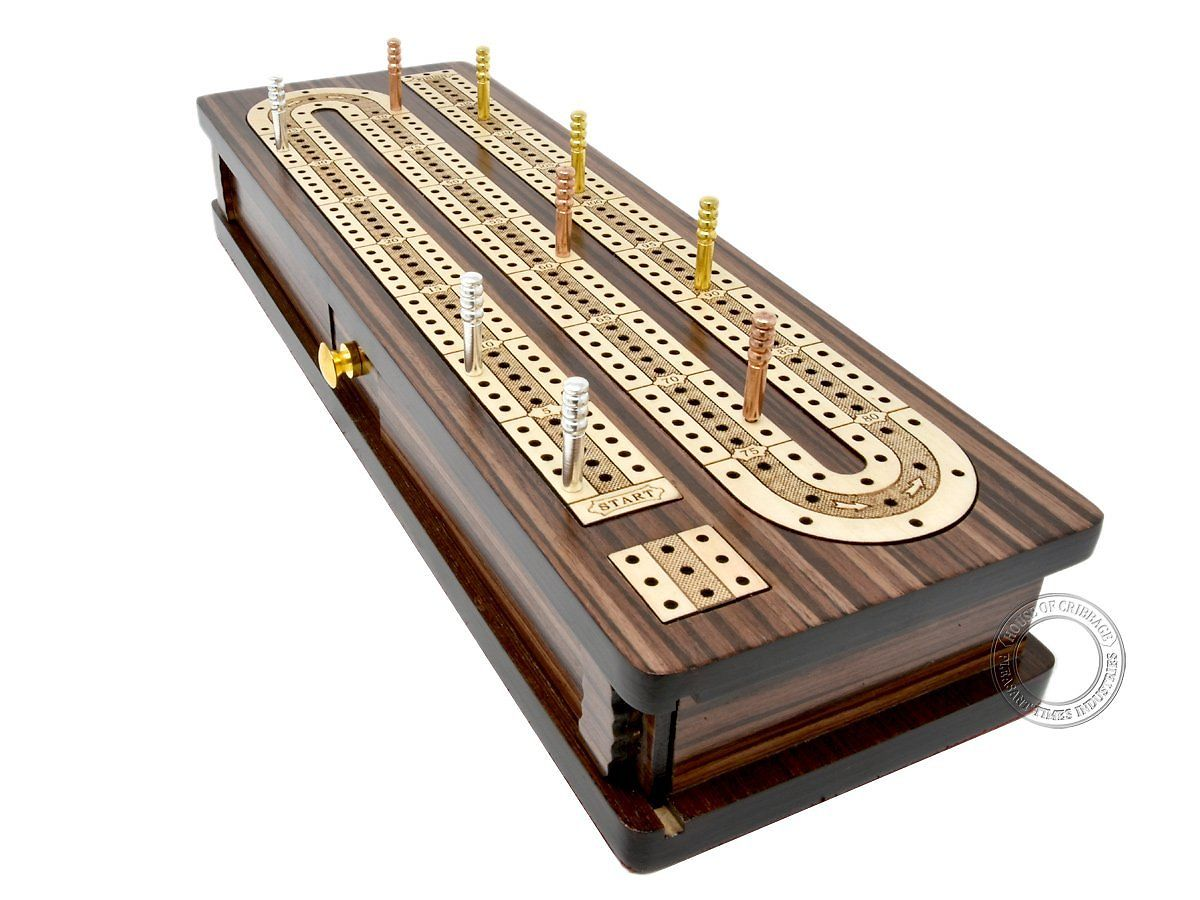 Side view of continuous cribbage board - drawers and lid closed