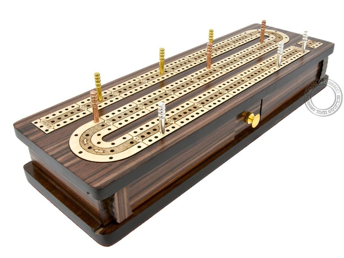 Sliding lids and drawer open - continuous cribbage board