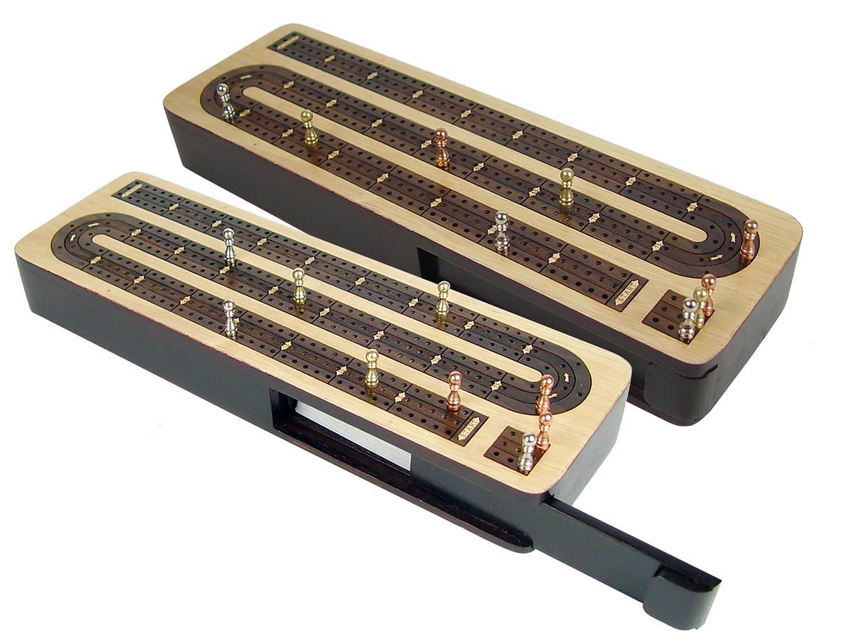 Unique Continuous Cribbage Board 3 Tracks Wood Inlaid Maple / Rosewood - Sliding Lid