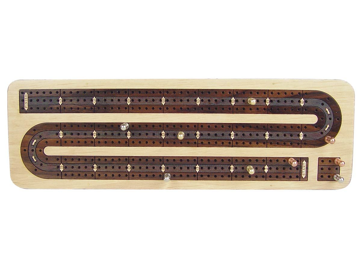 3 Tracks Continuous Cribbage Board inlaid with Maple / Rosewood