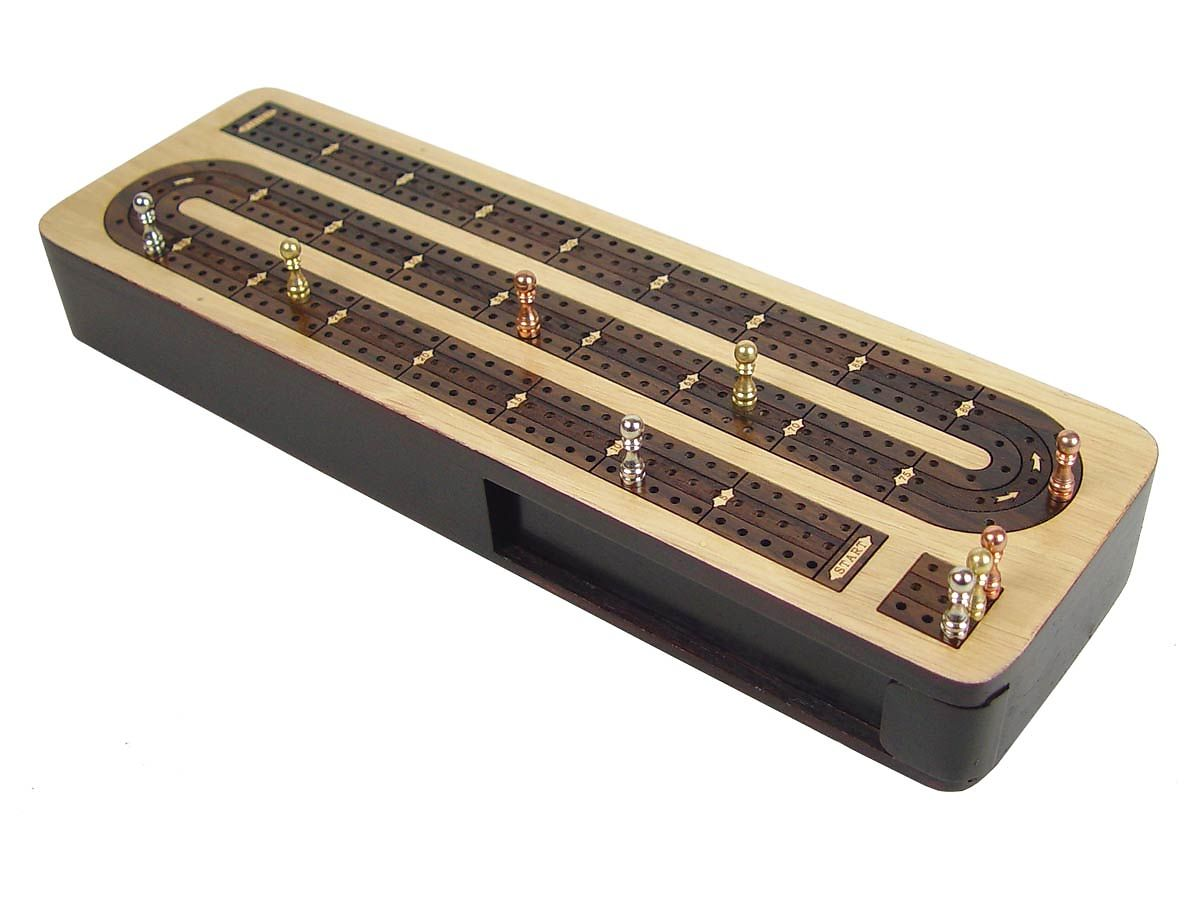 Continuous Cribbage Board 3 Tracks Front View - Lid Closed