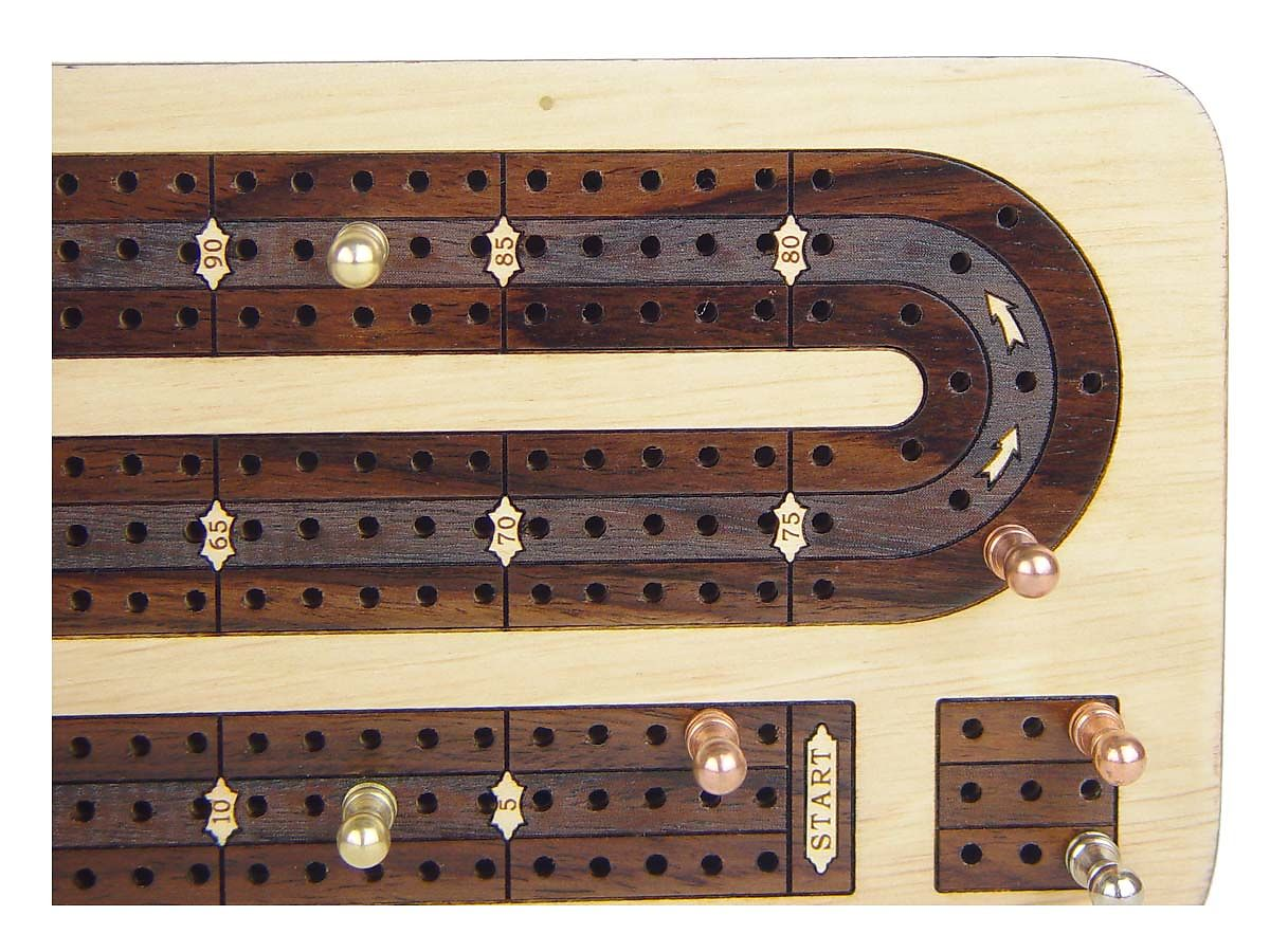 Unique Cribbage Board in Maple / Rosewood inlaid tracks - Cut Out