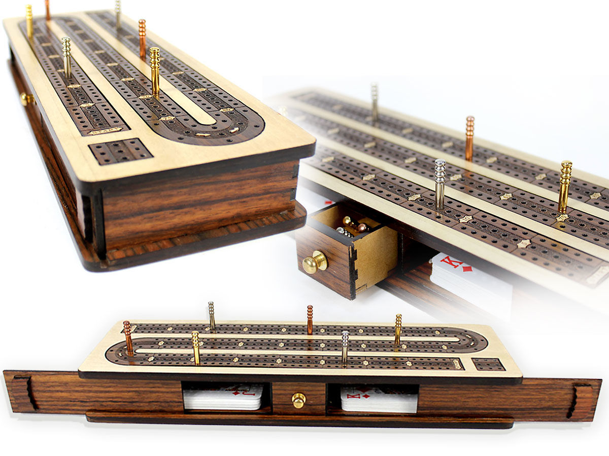Continuous Cribbage Board Inlaid 3 Rosewood Tracks with Sliding lid and drawers