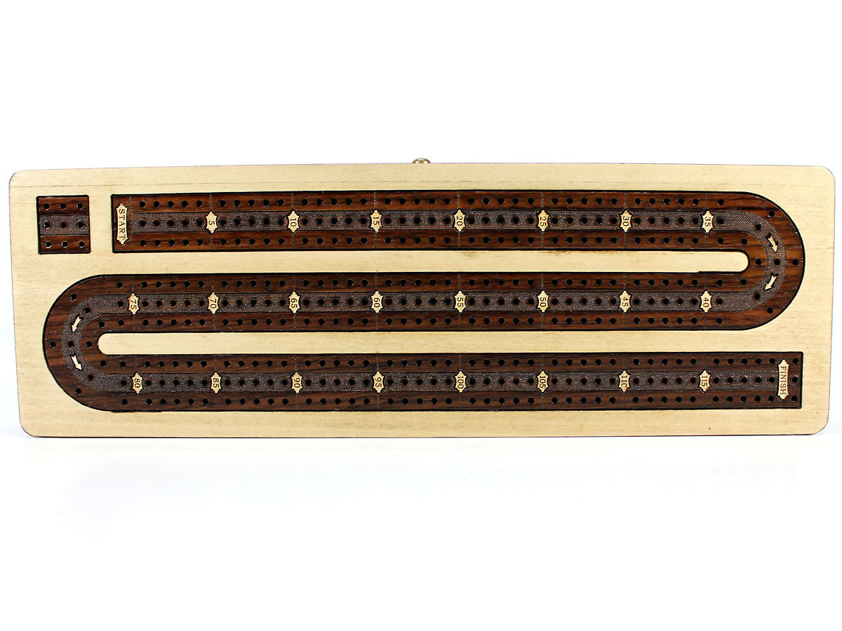 Top view of cribbage board with inlaid 3 tracks and inlaid numbers