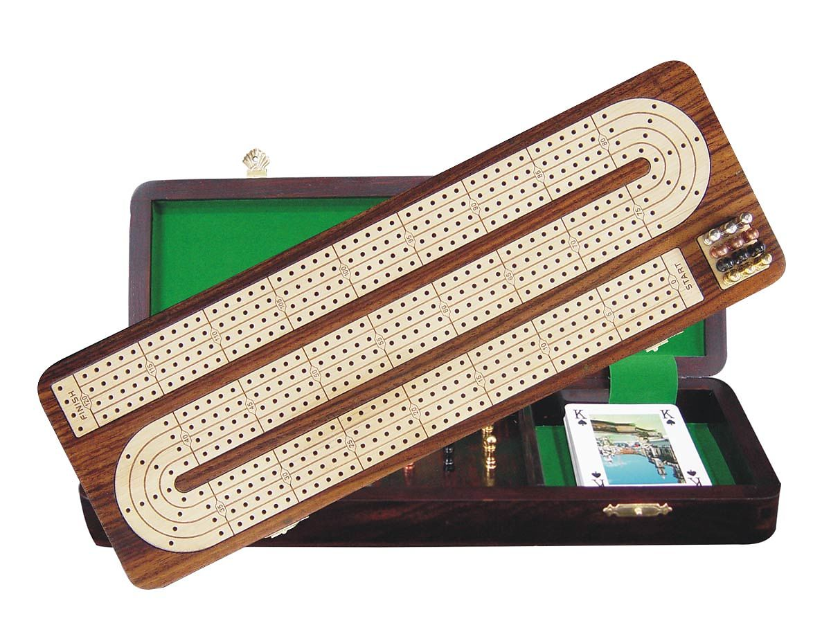 Continuous Cribbage Board / Box Inlaid in Rosewood / White Maple - 4 Tracks