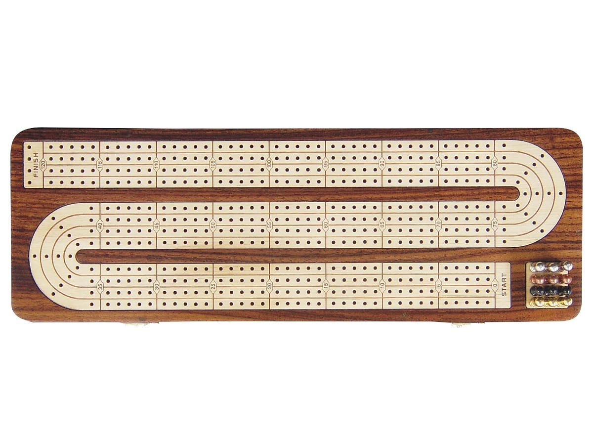4 Tracks Continuous Cribbage Board in Rosewood - Handcrafted -Inlaid in Rosewood & Maple