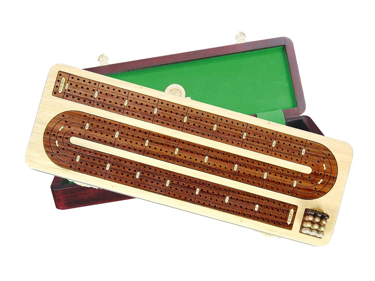 Continuous Cribbage Board / Box Inlaid in White Maple / Rosewood - 4 Tracks