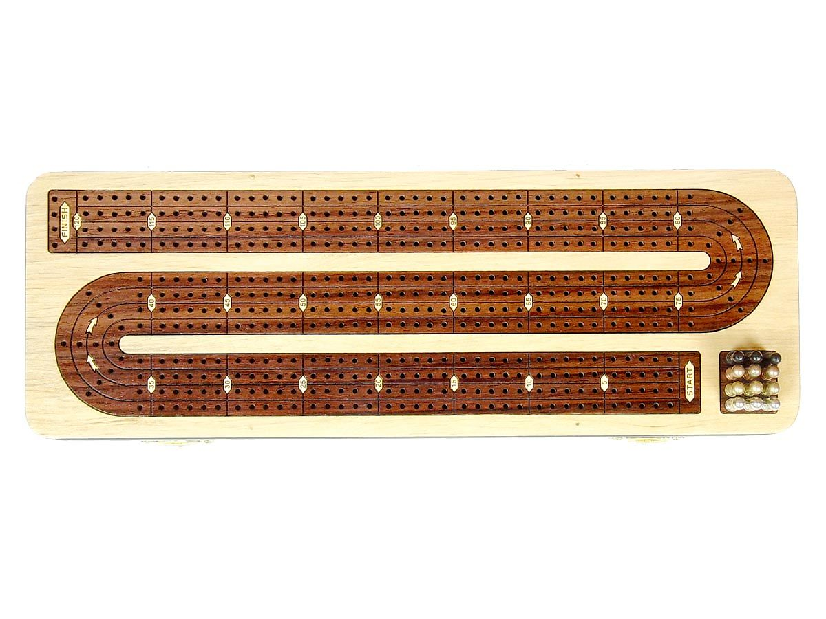 4 Tracks Continuous Unique Cribbage Board in Rosewood - Handcrafted -Inlaid in Rosewood & Maple