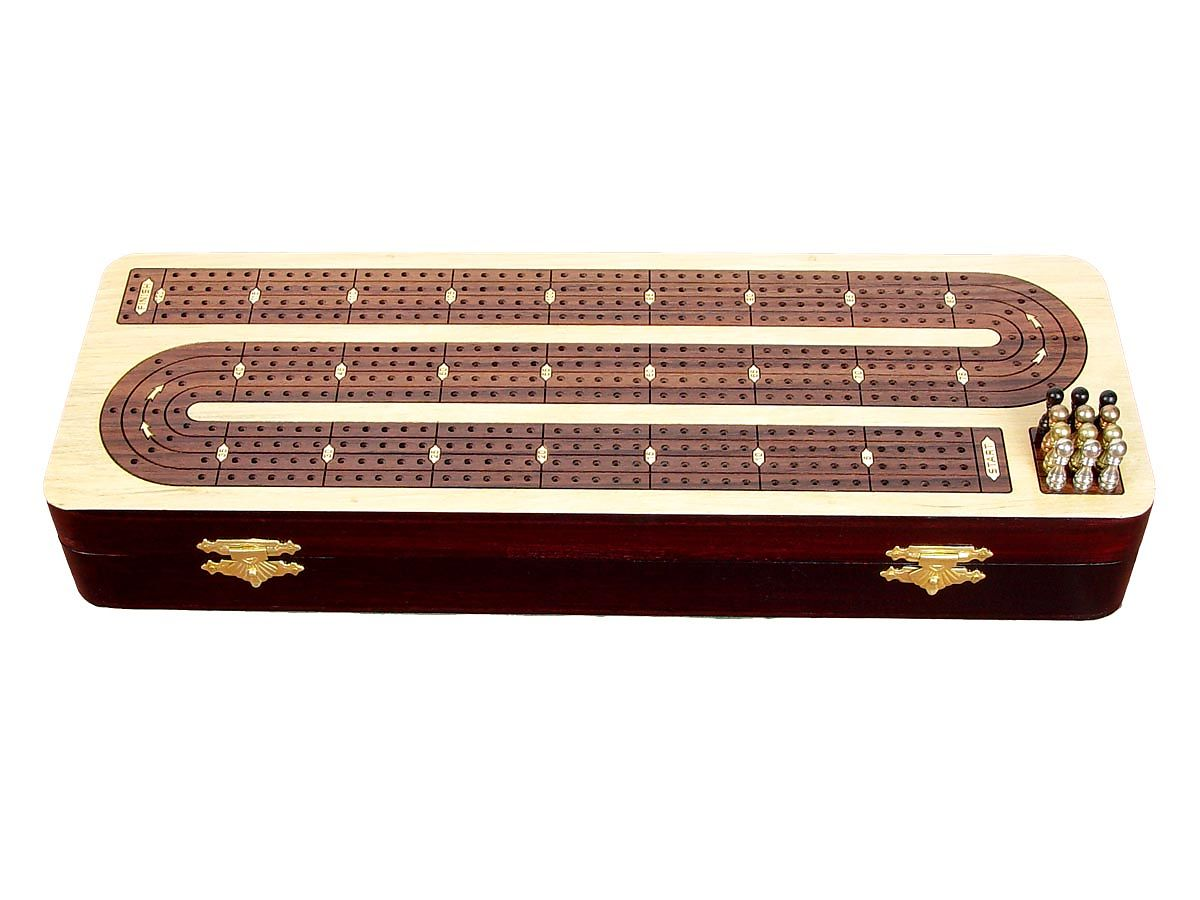 4 Tracks Handmade Continuous Cribbage Board in Rosewood - Front View