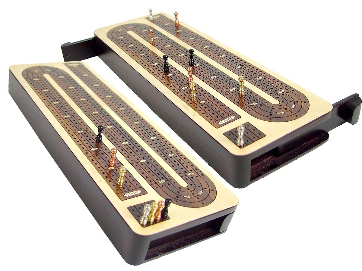Unique Continuous Cribbage Board 4 Tracks Wood Inlaid Maple / Rosewood - Sliding Lid