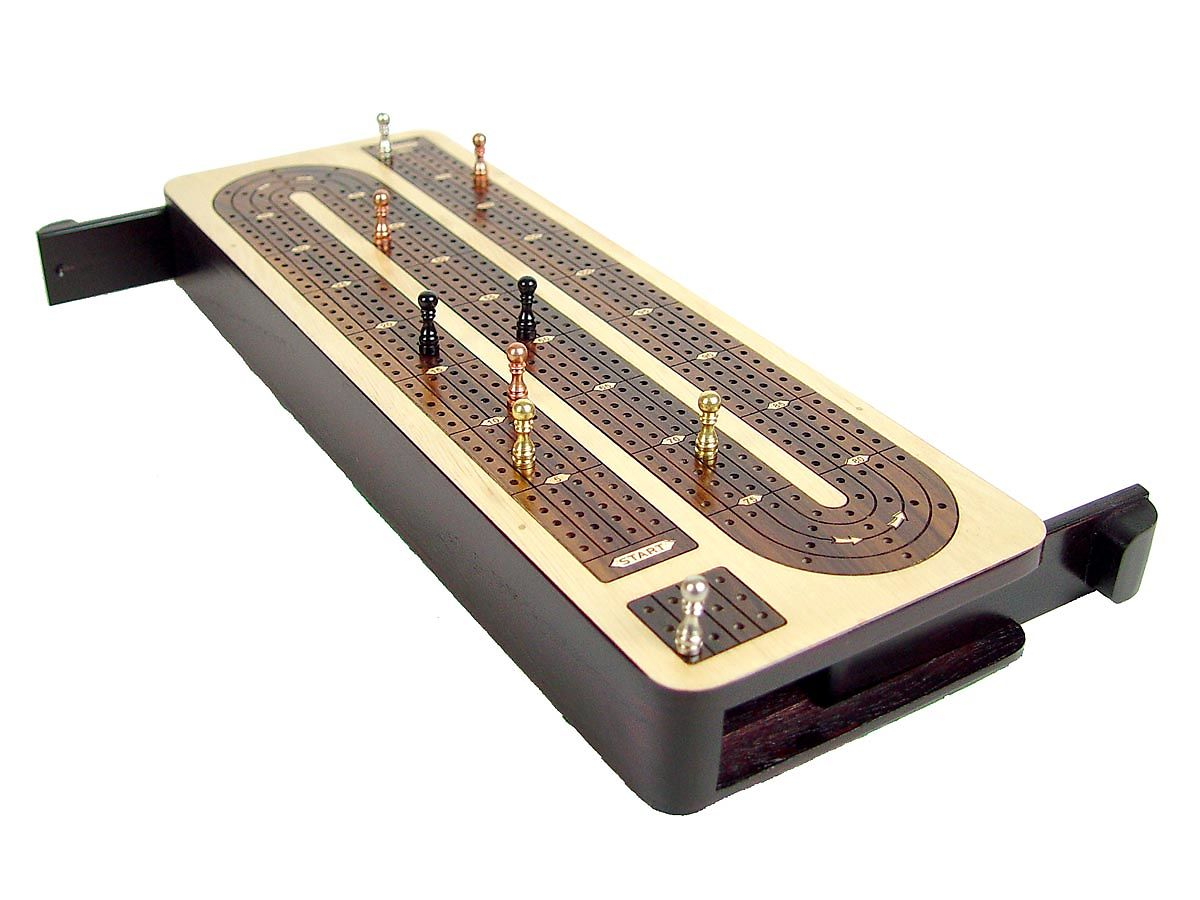 Wooden Continuous Cribbage Board with Sliding Lid