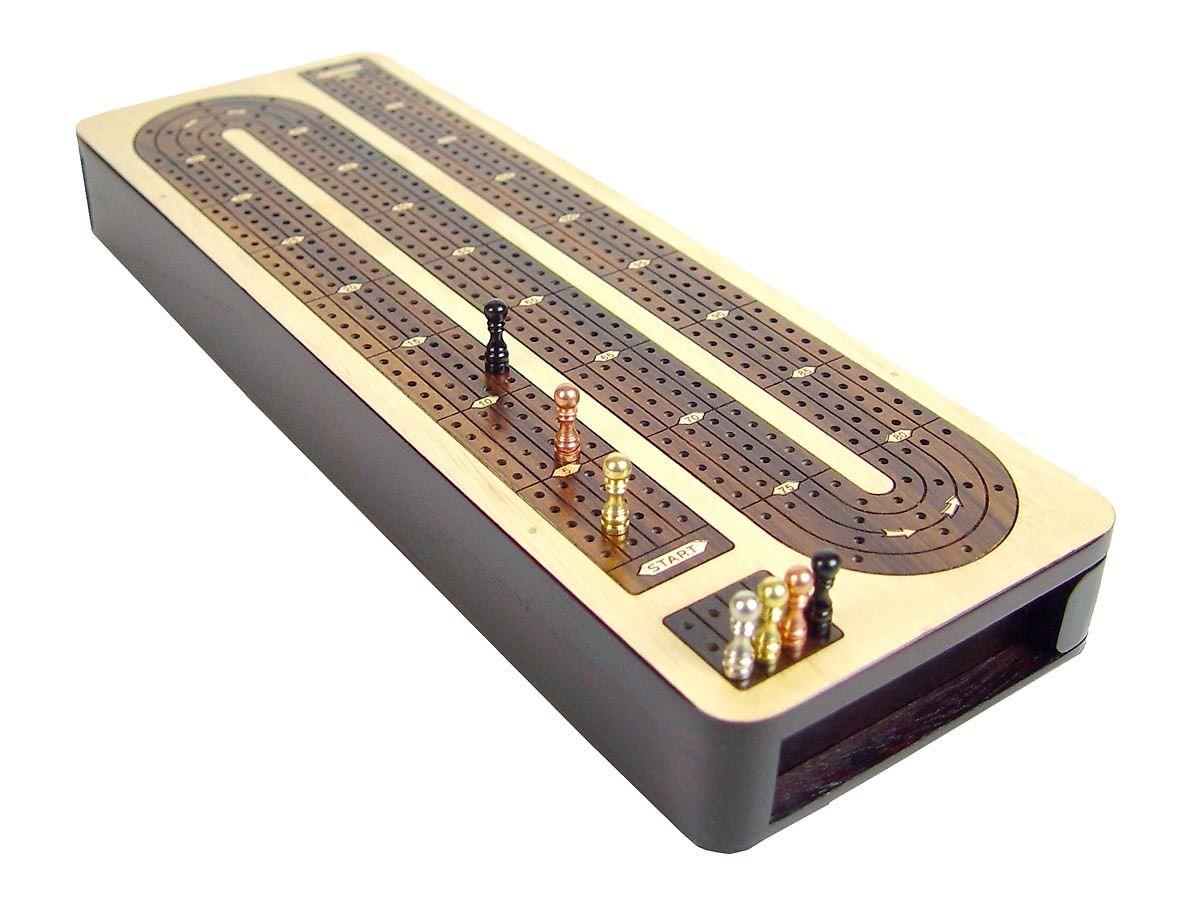 Top view of regular design cribbage board 4 tracks