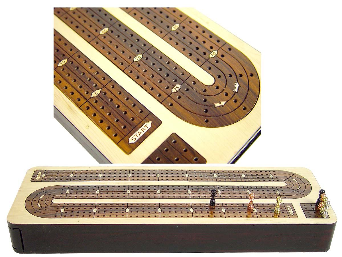 Front and close up view of 4 tracks and points inlaid on cribbage board
