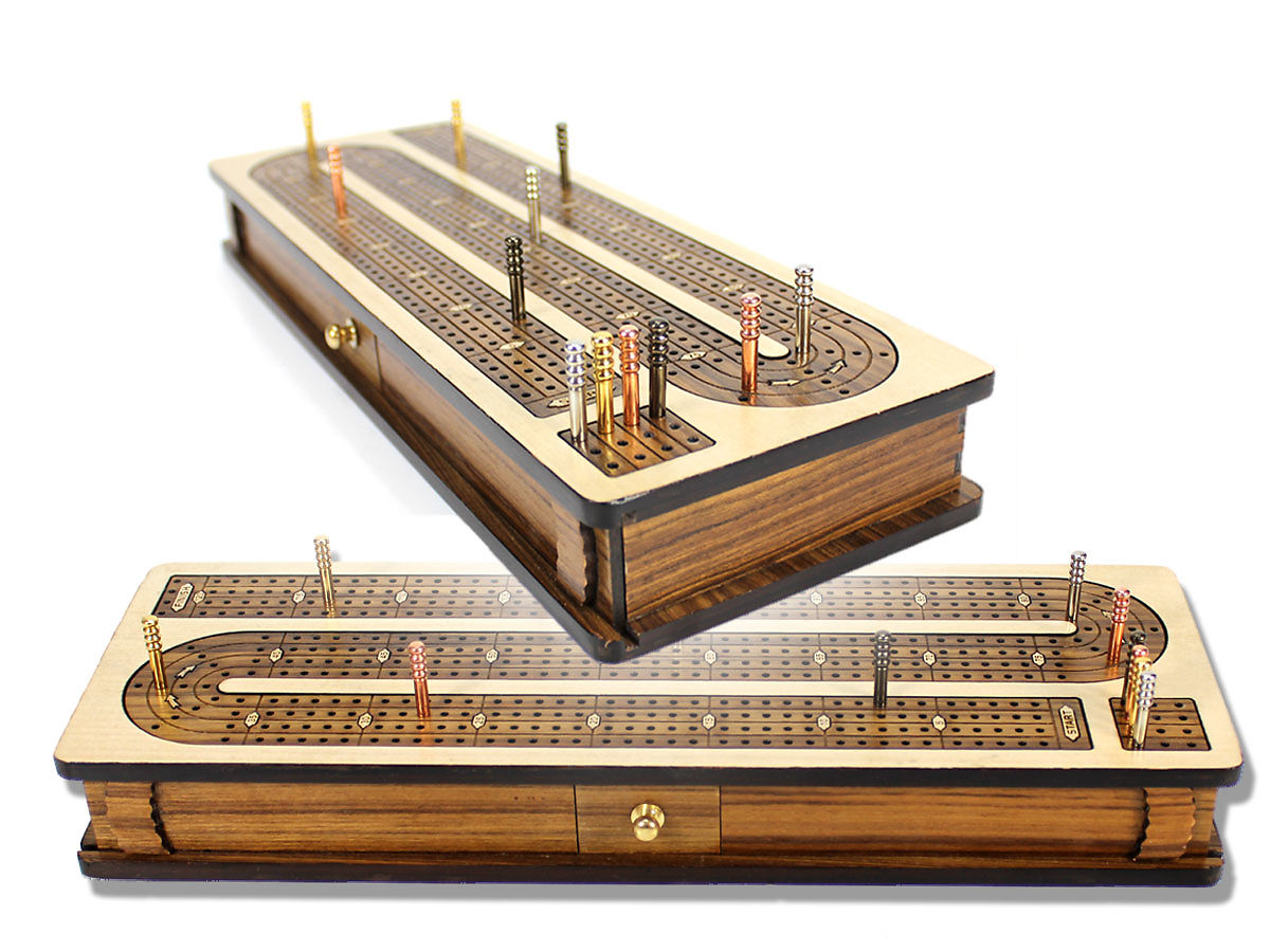 Cribbage Board Continuous Inlaid 4 Tracks with Sliding Lid and Drawer Stoage
