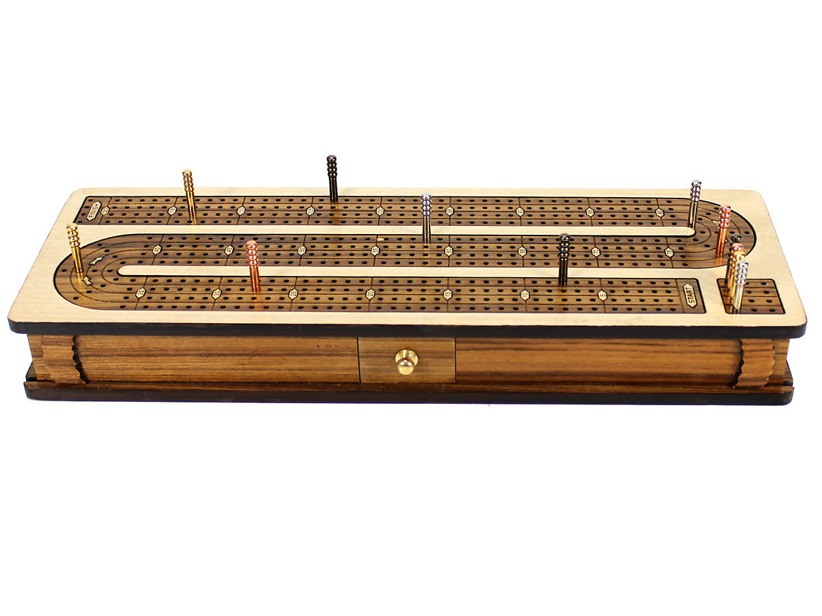 Front view of continuous cribbage board inlaid teakwood 4 tracks