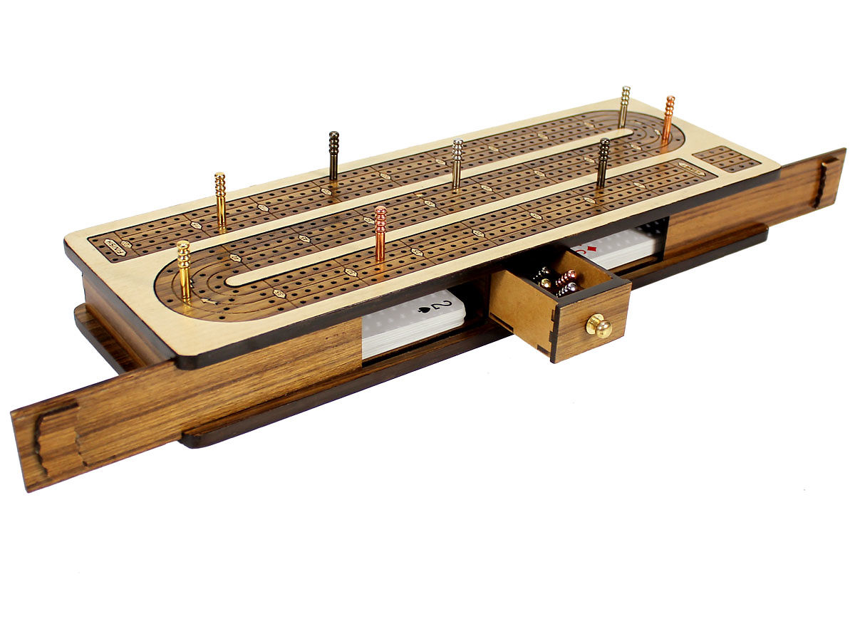 Front view of cribbage board with open sliding lids and drawer