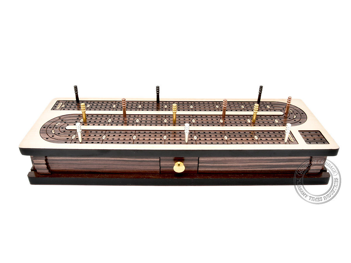 Front view of cribbage board with closed sliding lids and drawer