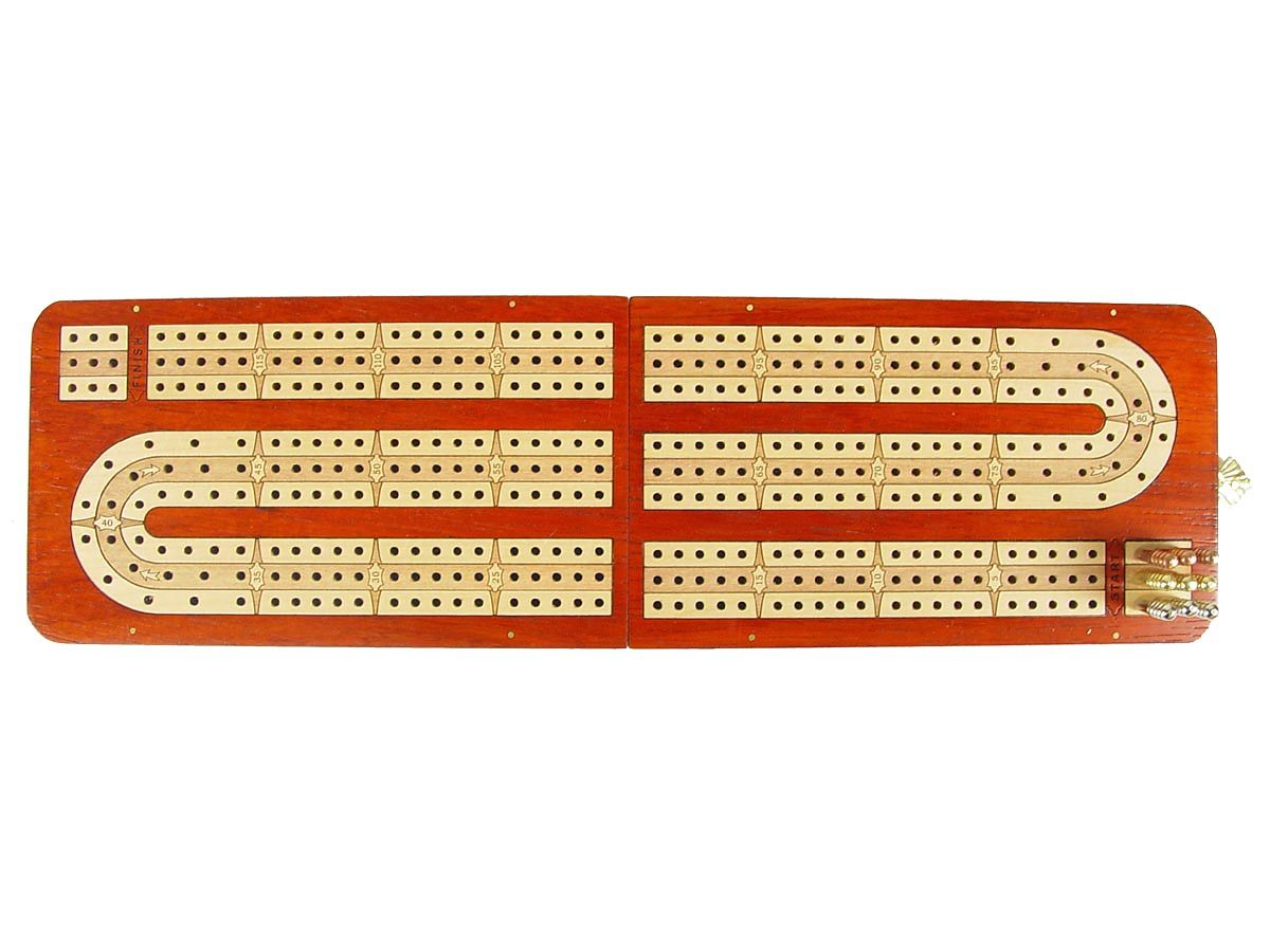 Handmade Cribbage Board Folding Continuous 3 Tracks