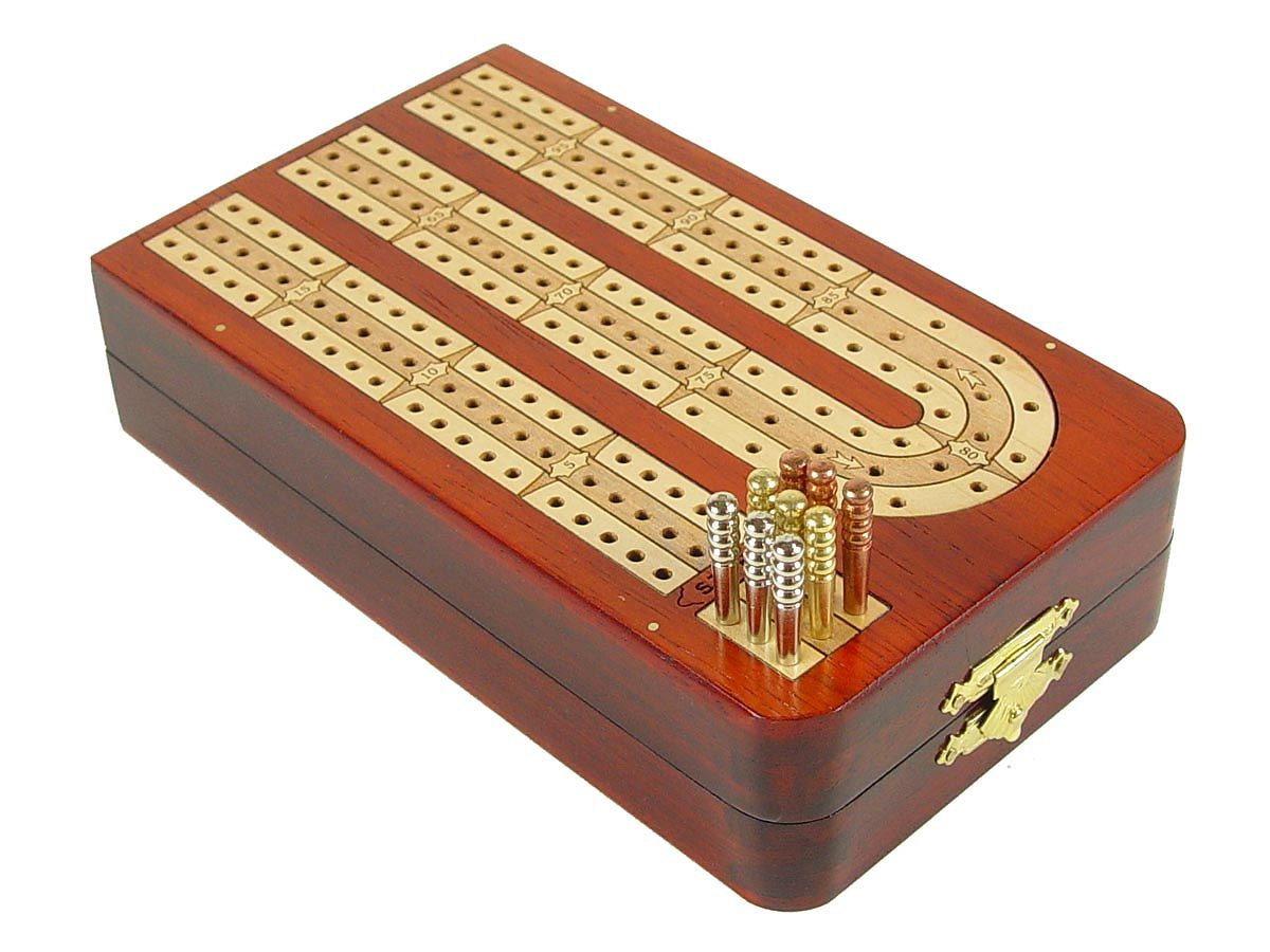 Folding Cribbage Board 3 Tracks Continuous - Closed Position