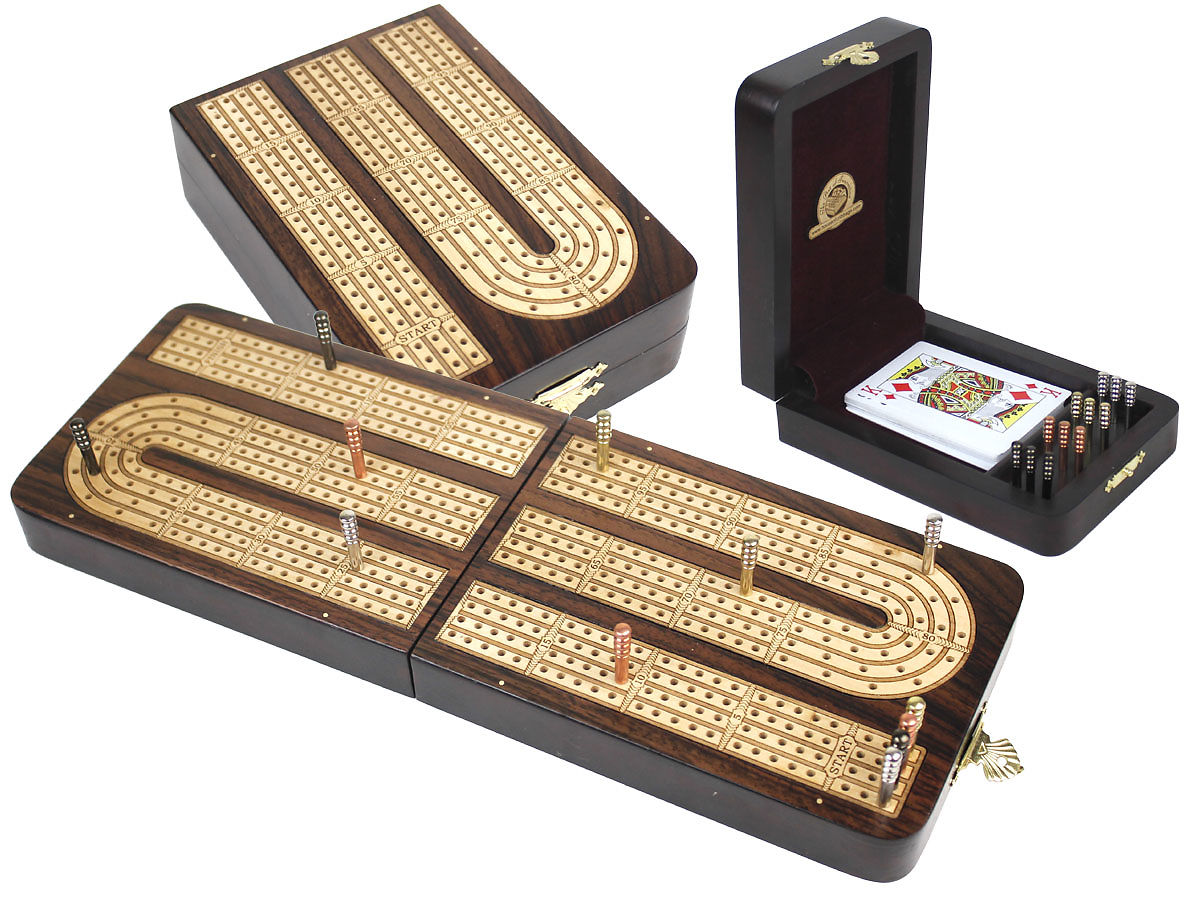 Folding Cribbage Board Continuous 4 Tracks Rosewood / White Maple