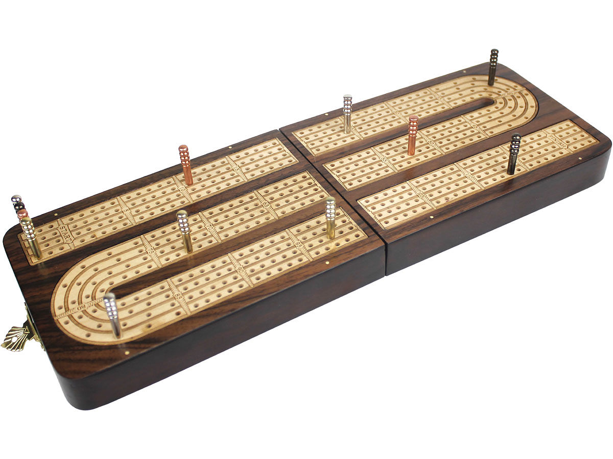 Handmade Cribbage Board Folding Continuous 4 Tracks 120 points - Side View