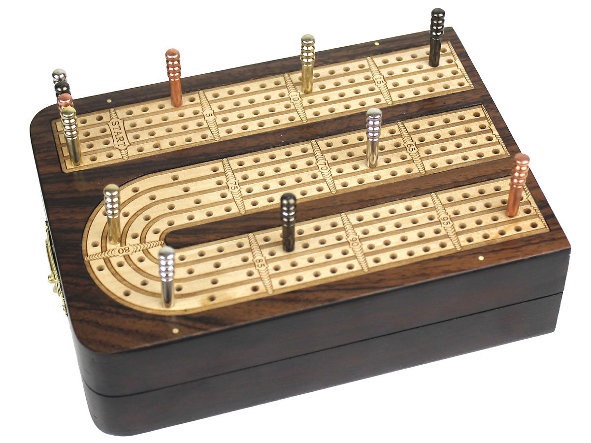 Folding Cribbage Board 4 Tracks Continuous  120 points handmade