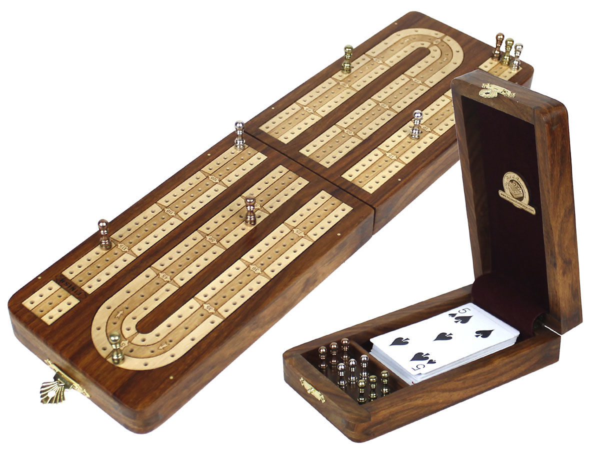 Folding Cribbage Board Continuous 3 Tracks Golden Rosewood / White Maple