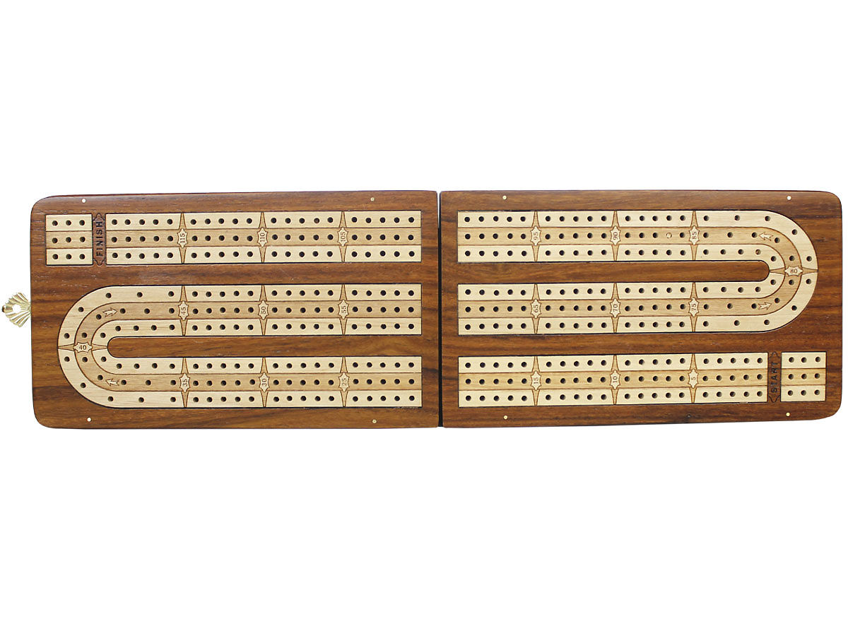 Handmade Cribbage Board Folding Continuous 3 Tracks -Top View