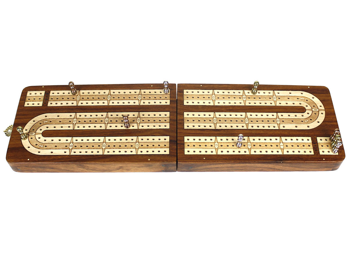Folding Cribbage Board 3 Tracks Continuous - Flat Layout