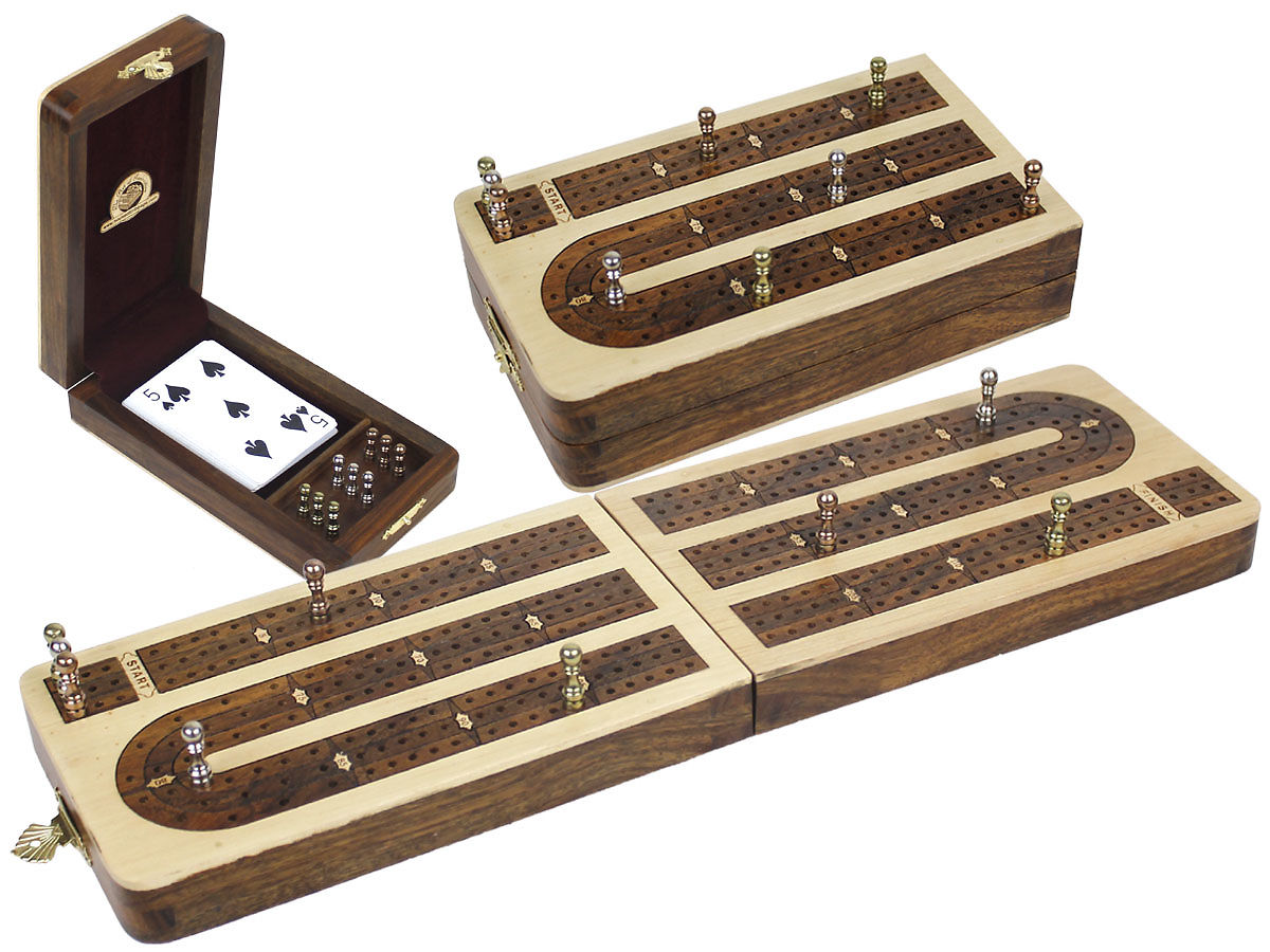 Folding Cribbage Board Continuous 3 Tracks White Maple / Golden Rosewood