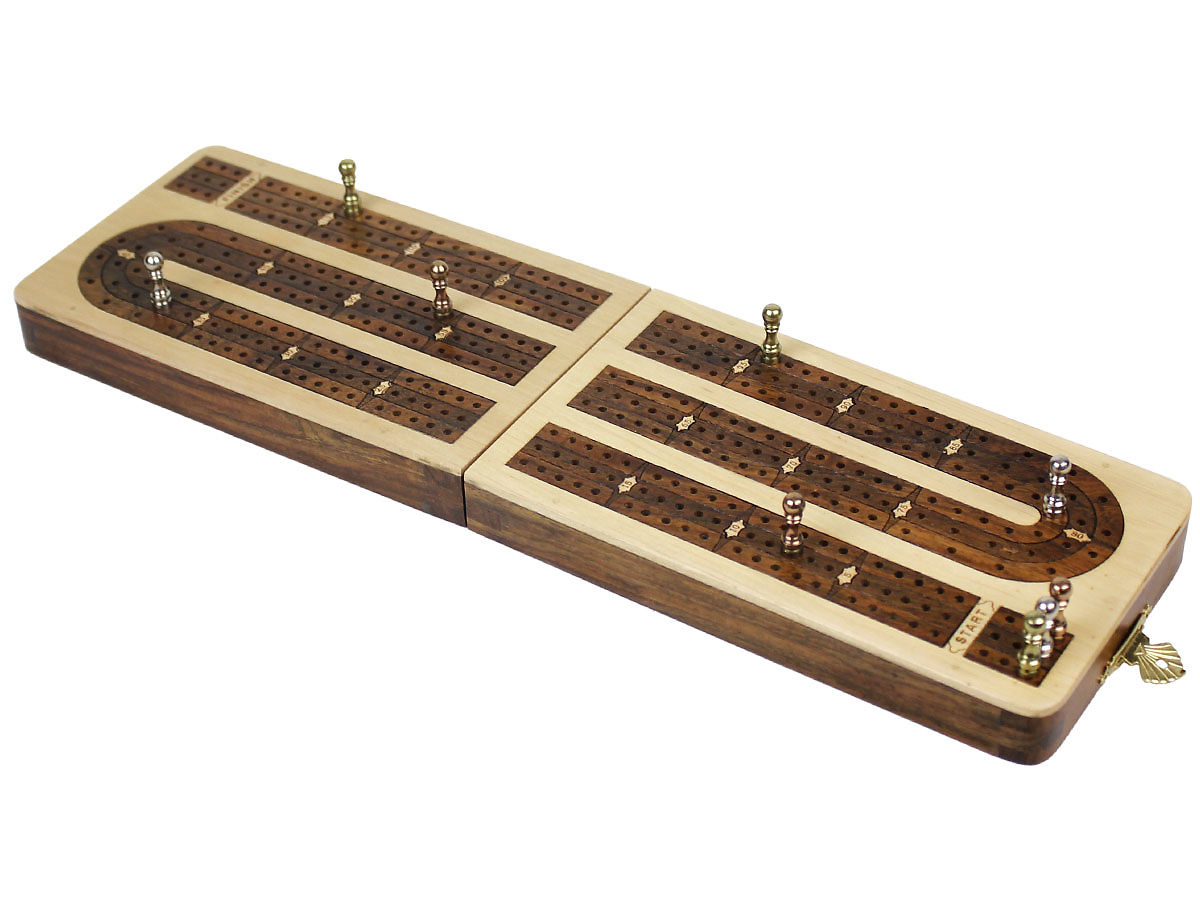 Handmade Cribbage Board Folding Continuous 3 Tracks - Side View